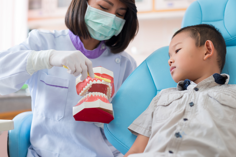 A dental hygienist in a pediatric office showing a young boy how to brush his teeth on a dental model.