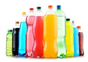 Image of many different types of sodas and drinks.